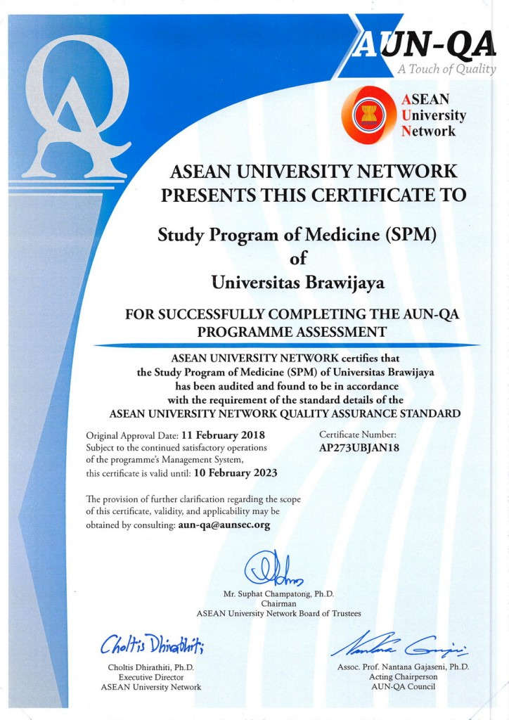 Sertifikat AUN-QA - Prodi S-1 Pendidikan Dokter FK